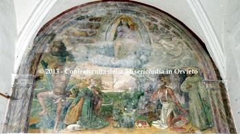 Affresco, Vergine col Bambino, S. Sebastiano, S.ta Agnese, S. Girolamo e S. Francesco